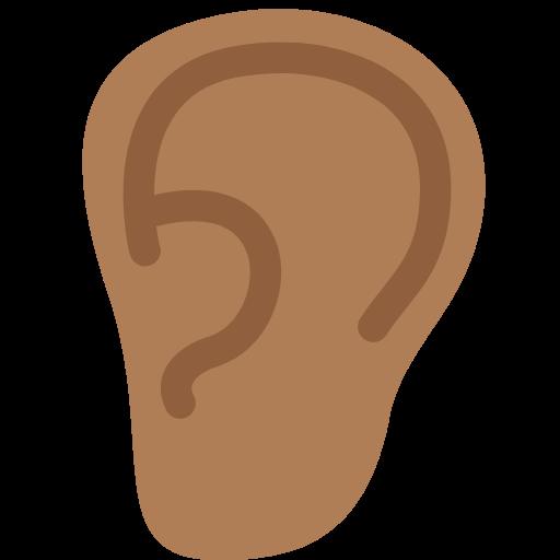 👂🏾 Emoji Ear: Medium-Dark Skin Tone