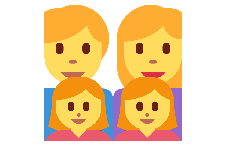 👨👩👧👧 Emoji Family: Man, Woman, Girl, Girl