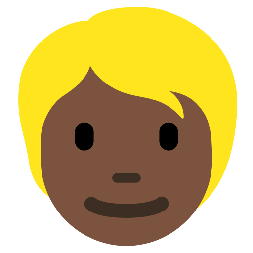 👱🏿 Emoji Person: Dark Skin Tone, Blond Hair