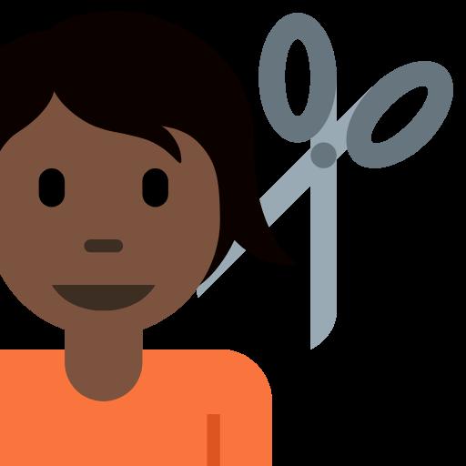 💇🏿 Emoji Person Getting Haircut: Dark Skin Tone
