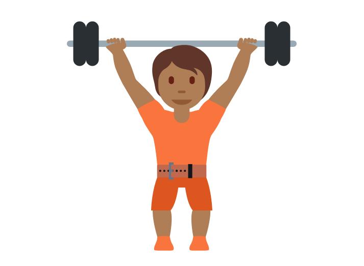 🏋🏾 Emoji Person Lifting Weights: Medium-Dark Skin Tone