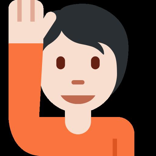 🙋🏻 Emoji Person Raising Hand: Light Skin Tone