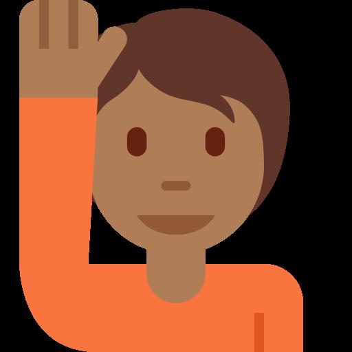 🙋🏾 Emoji Person Raising Hand: Medium-Dark Skin Tone