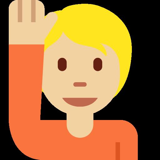 🙋🏼 Emoji Person Raising Hand: Medium-Light Skin Tone