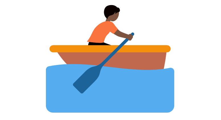 🚣🏿 Emoji Person Rowing Boat: Dark Skin Tone