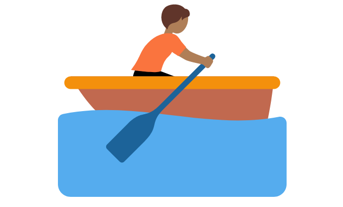 🚣🏾 Emoji Person Rowing Boat: Medium-Dark Skin Tone