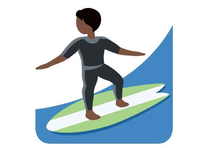 🏄🏿 Emoji Person Surfing: Dark Skin Tone