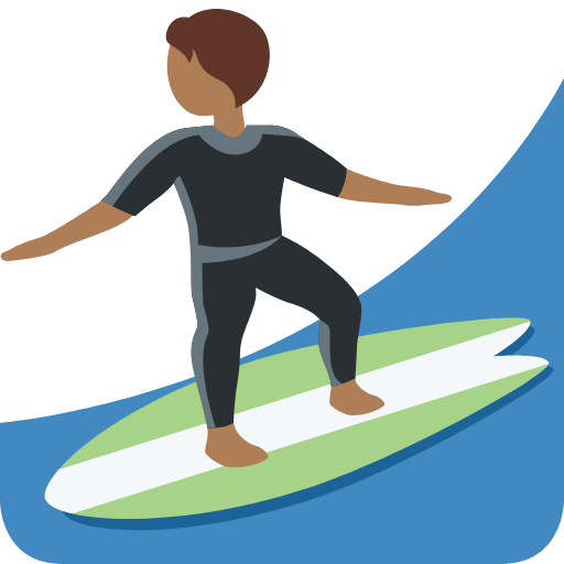 Emoji Person Surfing Medium-Dark Skin Tone PNG