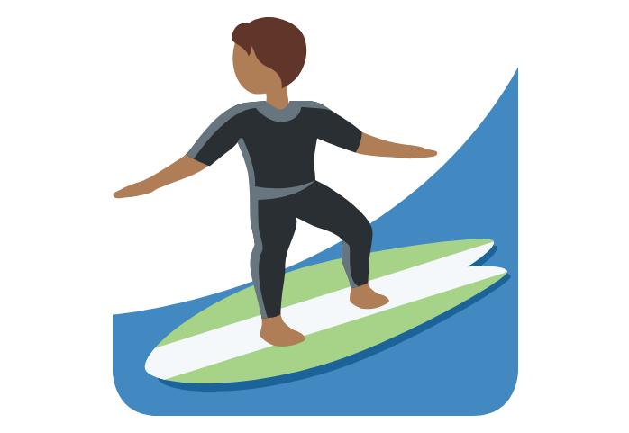 🏄🏾 Emoji Person Surfing: Medium-Dark Skin Tone