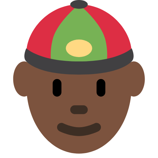 👲🏿 Emoji Person With Skullcap: Dark Skin Tone