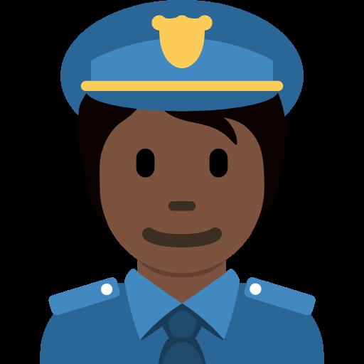 👮🏿 Emoji Police Officer: Dark Skin Tone