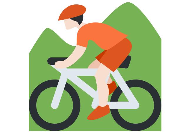 🚵🏻 Person Mountain Biking: Light Skin Tone Emoji