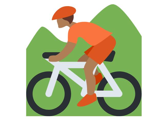 🚵🏾 Person Mountain Biking: Medium-Dark Skin Tone Emoji