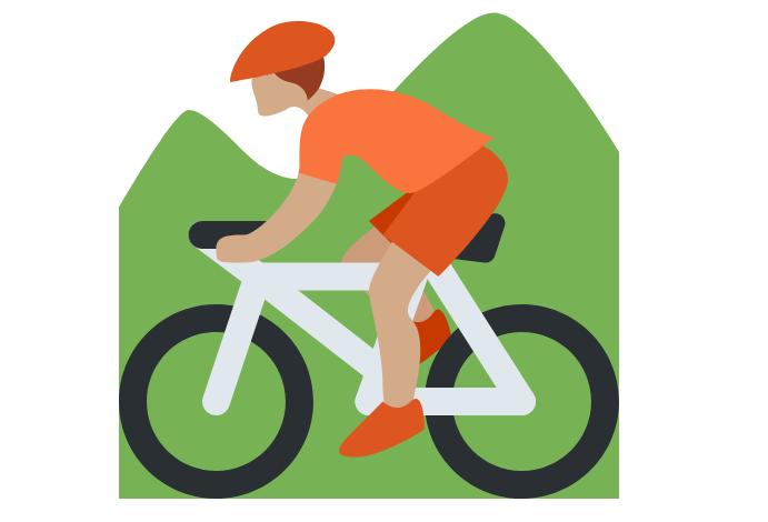 🚵🏽 Person Mountain Biking: Medium Skin Tone Emoji