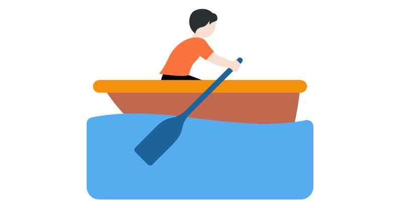 🚣🏻 Person Rowing Boat: Light Skin Tone Emoji
